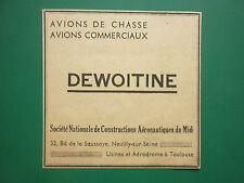 4/1938 PUB SNCAM AVIONS DEWOITINE AERONAUTIQUE FRANCAISE ORIGINAL AD