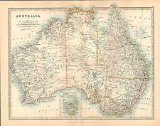 1911 LARGE VICTORIAN MAP ~ AUSTRALIA QUEENSLAND VICTORIA INSET TASMANIA