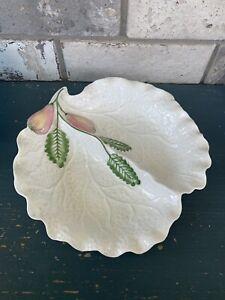 """Vintage ART DECO White Leaf Pear Double Dish 8"""""""