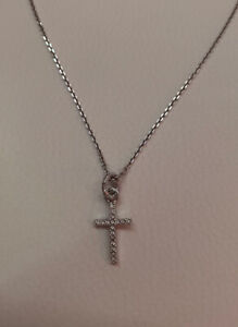Swarovski Silver Crystal Cross Pendant Necklace
