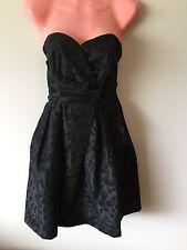Strapless Prom Formal Dress Black Animal Leopard Print Size 10