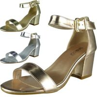 New Womens Ladies Metallic Ankle Buckle Strap Low Heel Party Sandals Shoes Size