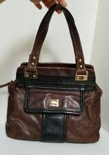 KATE SPADE Brown / Black Pebbled Leather - Turn Lock - SHOULDER / HAND BAG