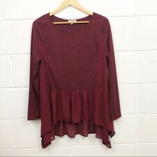 Umgee Medium Women's Burgundy Long Sleeve Flowy Hem Top