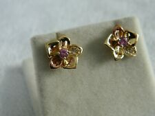 Clogau 9ct Gold Orchid Sapphire & Diamond Stud Earrings RRP £500.00