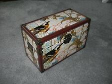 DECOUPAGE TYPE COVERED WOODEN BOX ~ Bird Flower Pattern ~ Faux Leather Edging