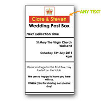 Personalised Royal Mail Any Colour Post Box Sticker Wedding Card Box Any Size