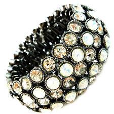 USA Bracelet vintage silve black rhinestone white CRYSTAL stretchable large wide