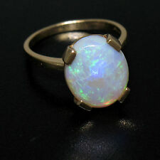 Vintage 14K Solid Yellow Gold 3.00ct Oval Cabochon Opal Solitaire Ring Size 4.5