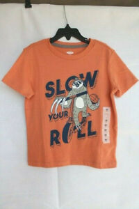 """Old Navy Boys' Size X-Small (5) T-Shirt - """"SLOW YOUR ROLL"""" Graphic"""