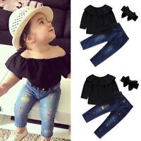3PCS Toddler Kids Baby Girls T-shirt Tops +Denim Jeans Pants Outfits Clothes Set
