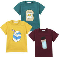 New Trendy Children Toddler Boys Kids Bread Print Short Sleeve Tops T-Shirt Tees