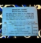 LATE NIGHT WITH DAVID LETTERMAN SHOW - CYNDI LAUPER GUEST -DEC 15, 1986 - TICKET