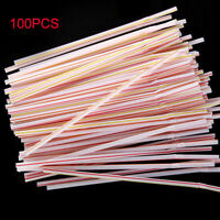 100Pcs Plastic Curved Bend Disposable Drinking Straw Extra Long Party Birthday