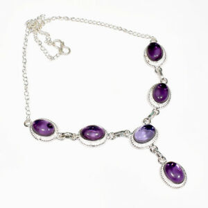 "Purple Amethyst Gemstone 925 Sterling Silver Jewelry Necklace 16-18"""