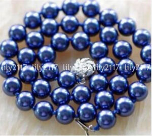Beautiful Natural 8/10mm South Sea Dark Blue Shell Pearl Necklace 18/24/36/48''