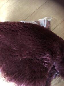 Sheepskin offcuts scraps crafting soft wool, natural off cuts, Wine Colour
