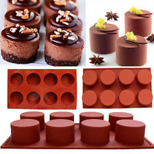 8 Cavity Silicone Muffin Pudding Mould Bakeware Round Cake Mold Baking Pan Tray