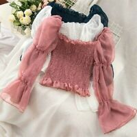 Lady Off Shoulder Chiffon Blouse Tops Lolita Sheer Puff Sleeve Flared Retro Sexy