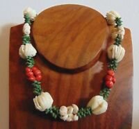 Vintage Antique Art Deco 1920s 30s Rare Dyed Red White Green Shell Necklace VGC