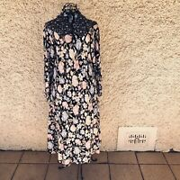 Vintage 1970s DL Barron London Floral Long Sleeve Prairie Cottage Core Dress