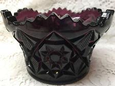 Amethyst glass candy dish / fruit console bowl diamond star pattern purple black