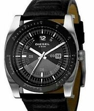 NEW DIESEL SILVER TONE,BLACK LEATHER BAND,COMPASS,5 BAR WATCH-DZ1256