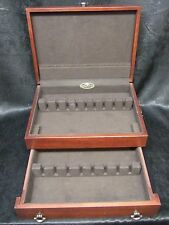 Reed & Barton Wooden Silverware Chest w/ Drawer Anti Tarnish Liner Flatware