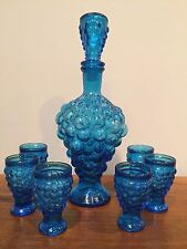 Vintage Blue Grape Pressed Glass Decanter Set with 6 Footed Shot Glasses
