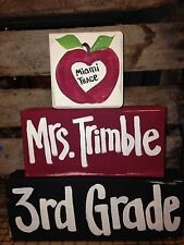 Teacher name sign School name Grade personalized wood blocks Christmas gift art