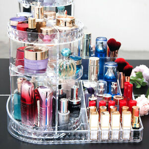 Large Clear Makeup Organizer Holder Rotating Cosmetics Shelf Tower Perfume Stand