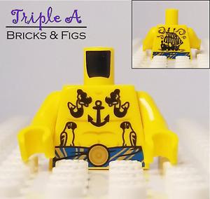 New Lego Minifigure Tattuga Torso Tattoos  Pirate Yellow Anchor Mermaids Ship