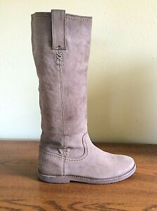 FRYE Women's 8.5 B Celia X Stitch Knee-High Riding Boots-Taupe