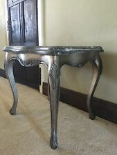 Thick Marble Antique Silver Leaf French Boudior Lamp Side Table Bed Side Table