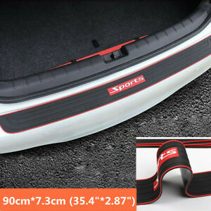 90cm Black+Red Rubber Car Rear Bumper Trunk Edge Scratch Guard NonSlip Pad Cover
