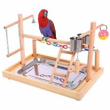 Qbleev Bird Training Playground Parrot Wooden Perches Play Gym Playpen With Ladd
