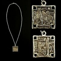 Vintage 1950s Egyptian Revival Double Sided Scenes Silver Necklace