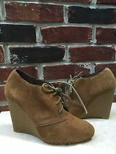 Sam Edelman Tan Brown Suede Lace Wedge Ankle Boots Booties 6.5 RARE!