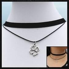 Nuevo Moda Joyería Gargantilla Collar Negro Flor Colgante de Color Plata