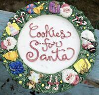 VTG 1994 Fitz & Floyd Omnibus Cookies for Santa Ceramic Plate Christmas Wreath