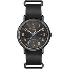 Timex Orologio Man Uomo Uhr Weekander T2P494 Pelle Sottile Nero Black Luce