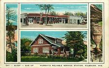 Roadside Postcard Murray's Reliable Gas Station, Kilbourn, Wisconsin -Roy Murray