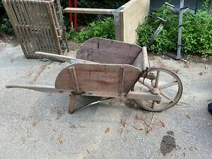 Antique Wooden Wheelbarrow