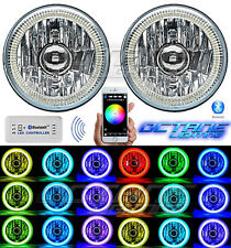 "5-3/4"" Bluetooth Cell Phone RGB SMD Color Change LED Halo Angel Eye Headlights"