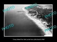 OLD LARGE HISTORIC PHOTO OF CONEY ISLAND NEW YORK AERIAL VIEW OF THE BEACH c1940