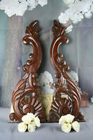 Antique PAIR Large French Cabinet wood Carved side elements ornaments