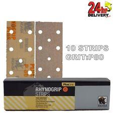Rhynogrip Plusline 70x198mm P80 Grit 10x HookNLoop Grip Abrasive Sanding Strips