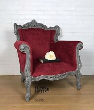 Red Chenille And Grey Painted Louis Throne Style Armchair