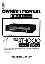 Rotel RT-1000 Tuner Owners Instruction Manual