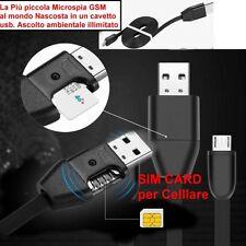 MICROSPIA spy Nascosta in Cavetto micro usb microfono ambientale GSM cellulare
